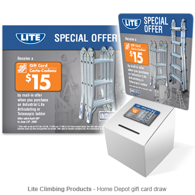 Lite Home Depot gift card draw display